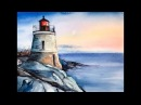 Watercolor Castle Hill Lighthouse (Rhode Island) Painting Demonstration