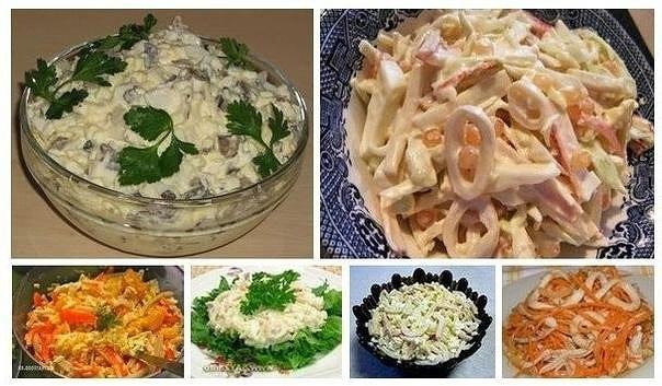6 простых и вкусных салатов с кальмарами.