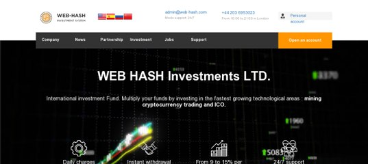 Мониторинг инвестиционного проекта WEB-HASH