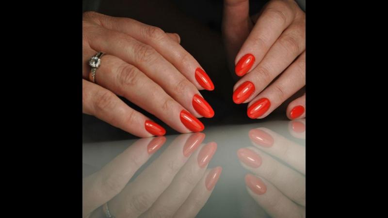 Gelish manicure with Rainbow mirrow powder design!