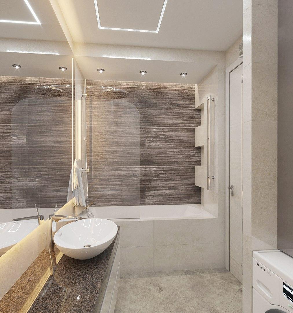 Ванная комната с Асимметричной мебелью.