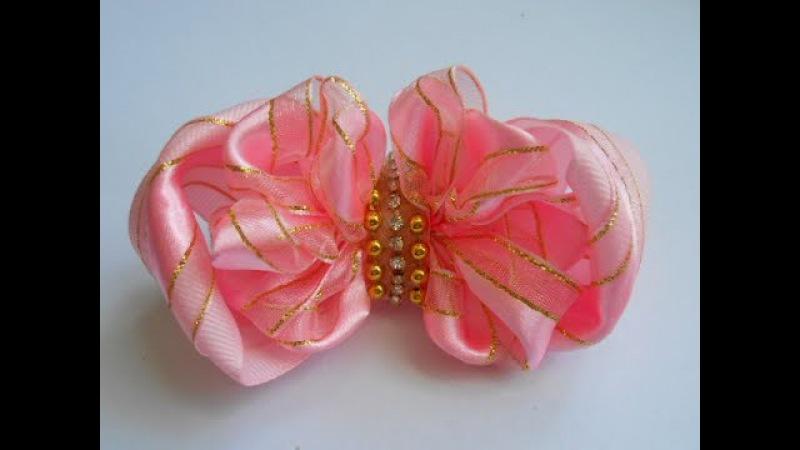 Нарядный бант из лент МК/ DIY Elegant ribbon bow/ O arco elegante de fitas