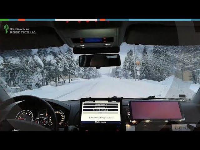 Беспилотное авто VTT Martti на зимней дороге (Robotics.ua)