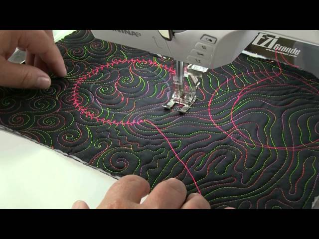 Quilting circles on a domestic sewing machine by Linzi Upton
