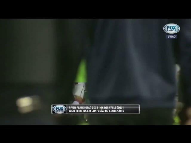 Jogador pega a bandeirinha de escanteio pra se defender de confusão em jogo da Libertadores