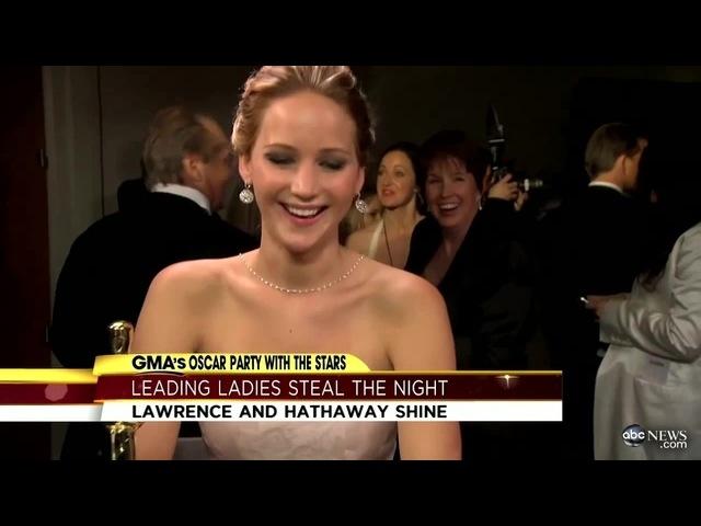 Jennifer Lawrence, Jack Nicholson Interruption Makes Waves After Oscars; Anne Hathaway on Big Win coub