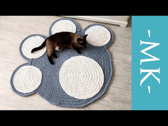 Вяжем коврик крючком из трикотажной пряжи | коврик-лапка