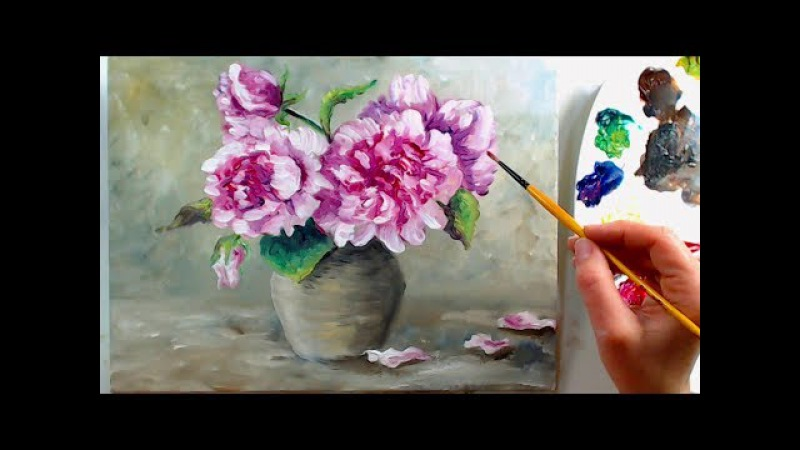 How To Paint Peonies in Water Mixable Oils Beginner Real-Time Tutorial