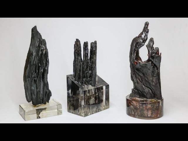 Esculturas em madeira e resina