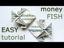 Very EASY Money FISH Origami 1 Dollar Tutorial DIY Folded No glue and tape