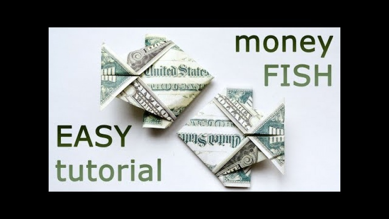 Very EASY Money FISH Origami 1 Dollar Tutorial DIY Folded No glue and tape