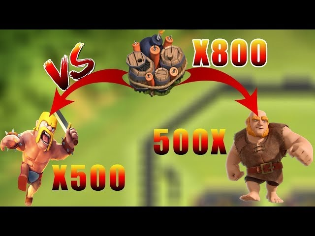 800 giant bombs vs 500 barbarians and again vs 500 giant😉😱   clash of clans