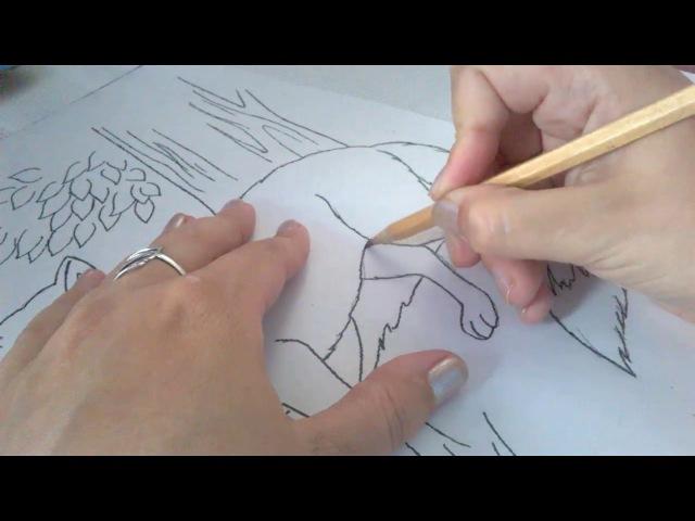 Мастер-класс (вышивка гладью) (лисичка часть 1)