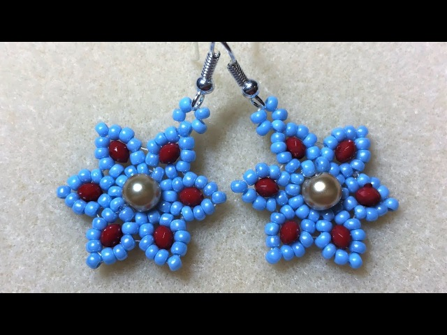 Six Petal Earring - Gold Pearl Red/Blue Seed Beads