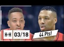 Damian Lillard CJ McCollum Full Highlights Blazers vs Clippers 2018 03 18 44 Pts Combined
