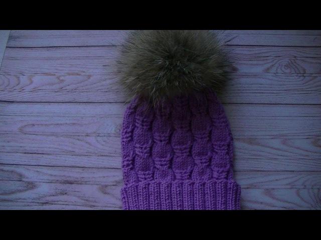 Вязание шапки узором жгуты Фантазия