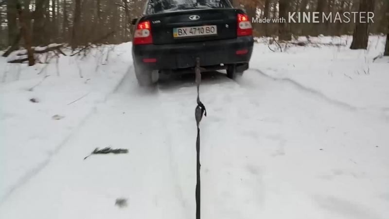 на снігокаті до автомобіля ))