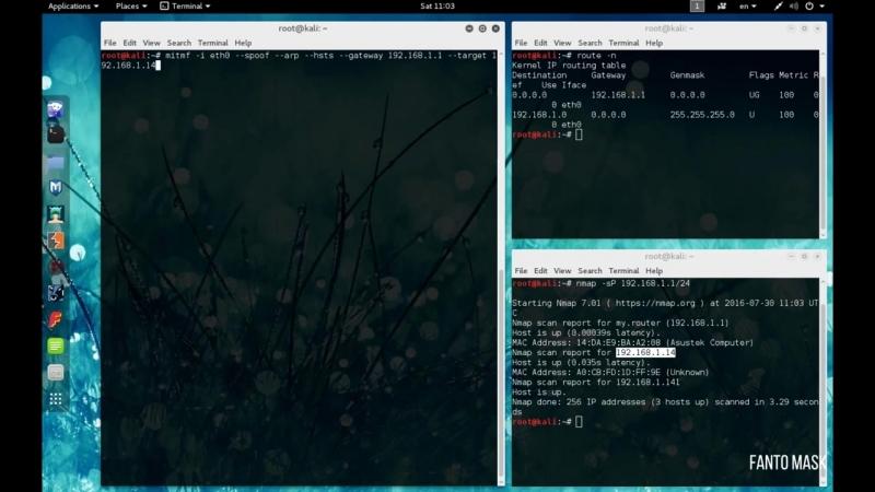 Kali Linux 2.0 Заменяем содержимое в html контенте (MITMf replace) в Wi Fi сетях