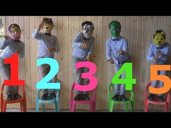 Learn Cartoon Heroes Masks Colors With Five Little babies Jumping On The Bad Educational Good Songs