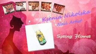 Дизайн ногтей - весенний цветок (Spring Flower - Ksenia Nikolska Nail-Art)
