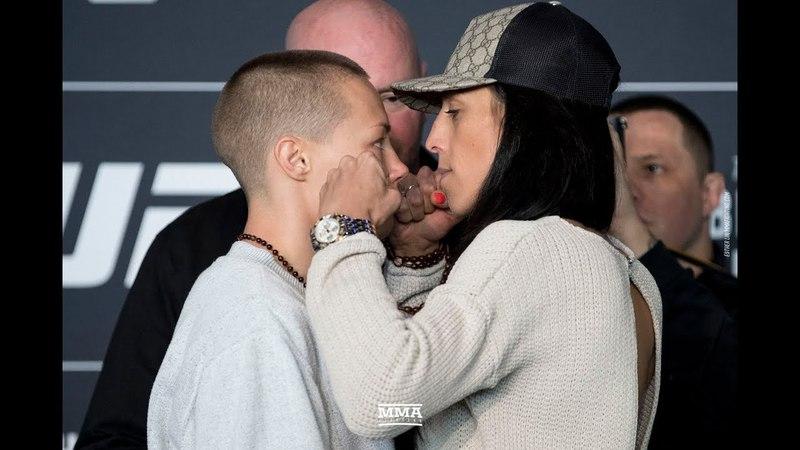 Rose Namajunas vs. Joanna Jedrzejczyk UFC 223 Media Day Staredown - MMA Fighting