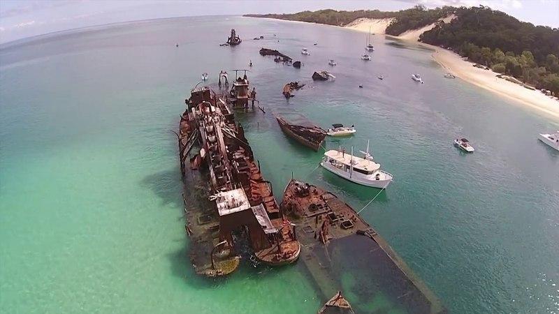 Tangalooma Wrecks by air, Moreton Island Queensland Australia 2014.
