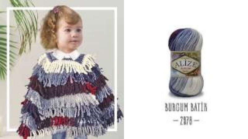 Alize Burcum Batik ile Saçaklı Çocuk Panço Yapımı Making Children's Poncho with Alize Burcum Batik