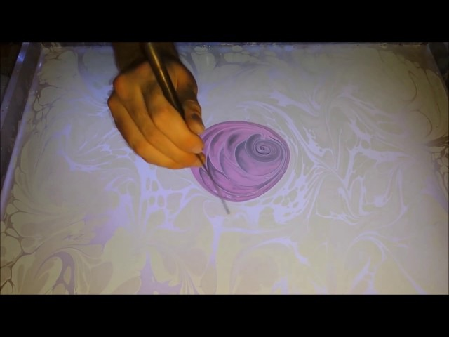 Wonderful Rose on Water Marbling Ebru Sanati gül