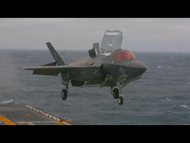 US Marine Corps USS Wasp LHD 1 With F 35B STOVL Stealth Fighters Deck Landing 1080p
