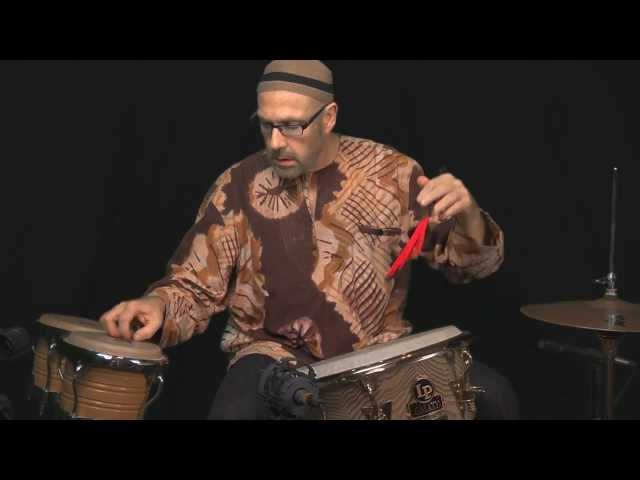 World Percussionist Tom Teasley Clean Sweep on L P Djembe Bongos with Vic Firth Jazz Rakes