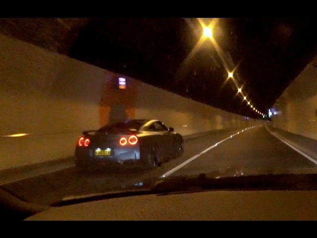 Crazy 1000bhp Nissan GTR and Supercar Tunnel Run: With Flames!