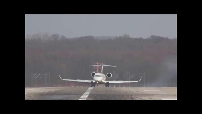 Опасная посадка самолета в шторм,в Дюссельдорфе.