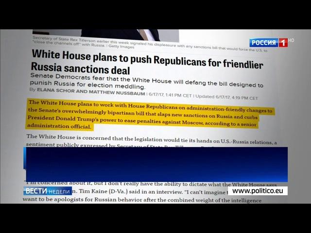 Вести недели. Эфир от 18.06.2017. США ждет главная битва за усиление антироссийских санкций