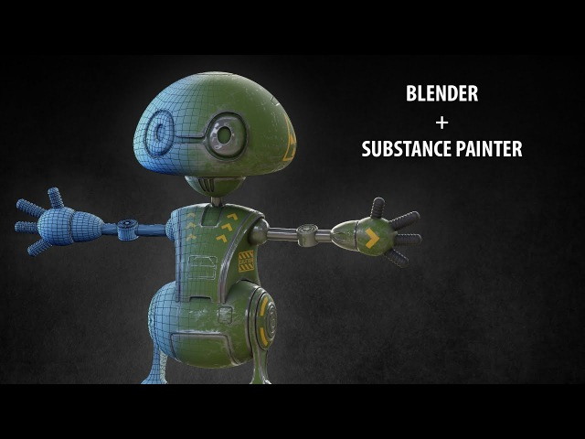 Blender2 79 Texturing a robot in Substance Painter render in Cycles