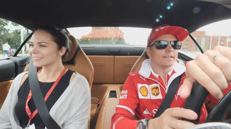 Kimi Raikkonen Takes Workers on a Ride in a Ferrari