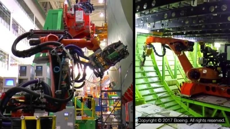 Роботы клепают фюзеляж