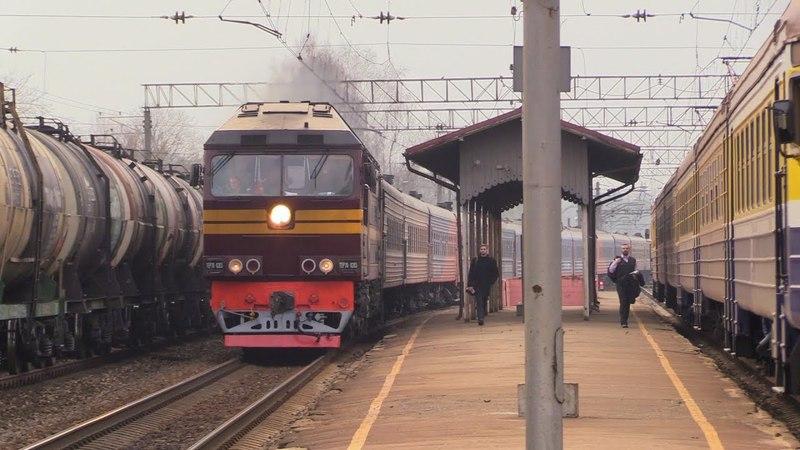 Тепловоз ТЭП70-0203 на ст. Огре / TEP70-0203 passing Ogre station