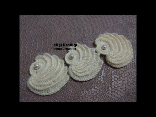 İNCİLİ MİDYE ŞAL MODELİ YAPILIŞI. / The construction of the pearl mussel shawl model.