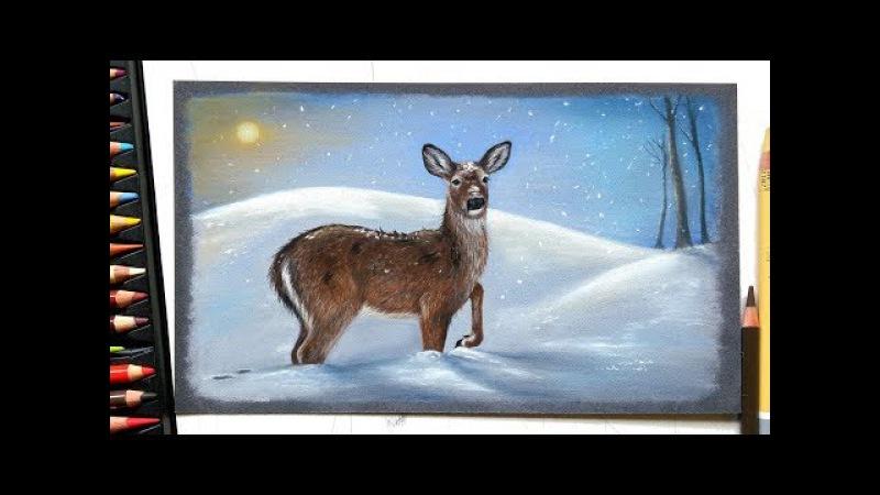 Drawing a deer in the snow with pastels | Leontine van vliet