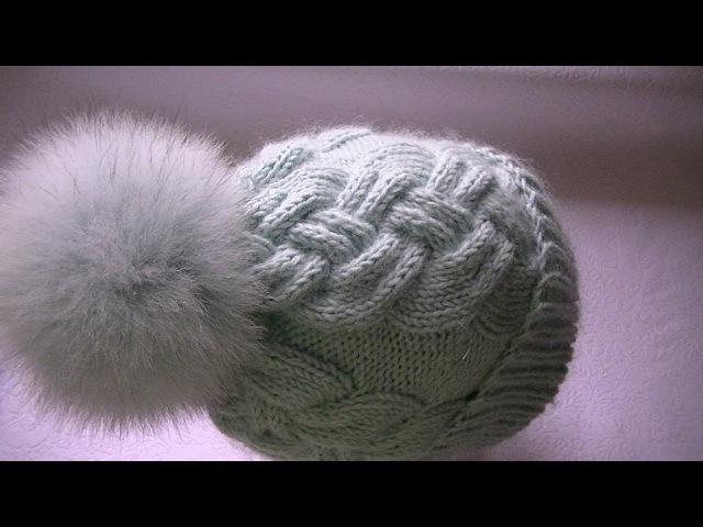 Вяжем шапку узором сложная коса