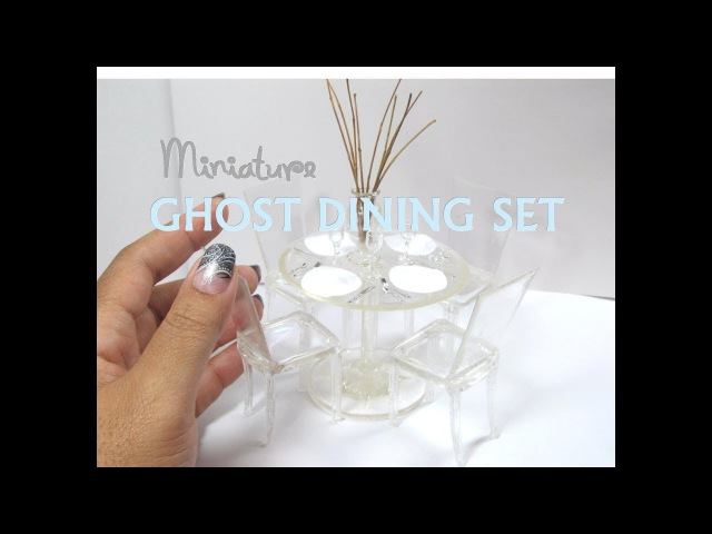 DIY Plastic and Resin Lucite Ghost Dining Set Table and Chairs Miniature Dollhouse Furniture