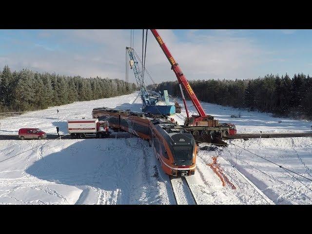 Таймлапс: Подъём Штадлера после крушения 1 / Time lapse: Lifting of Stadler train after an accident