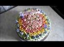 Оформление тортика корзина с тюльпанами