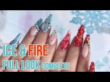 Ice &amp Fire Completed Full Look - How to Make Ice Cubes in Acrylic - Chrome Glass French Tip