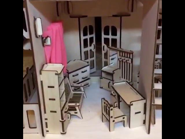 2-х этажный кукольный дом с мебелью💃🏠