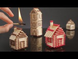 How to Make a Match House Town without Glue and Burn it