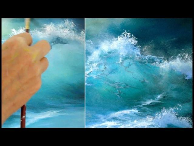 Malen mit Acryl, Blaue Welle, Acryltechniken, Lasurtechnik Рисование акрилом