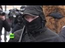 Protestaktionen von Nationalisten in Kiew Toiletten als Wahlkabinen