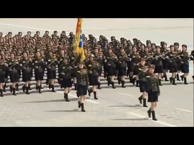 Bee Gees Staying Alive music over the N Korean Army Marching