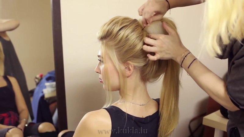 Mezuniyet düğün için saç modeli Stil 60da yüksek rulo
